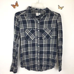 BP Blue White Flannel Button Down Top